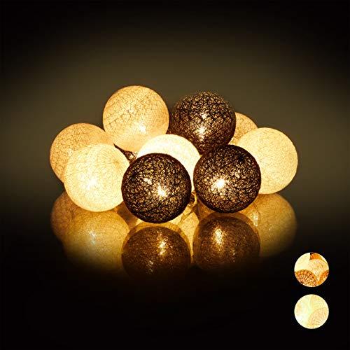 Relaxdays LED Lichterkette mit 10 Baumwollkugeln, batteriebetrieben, Stimmungslichter, Kugeln 6 cm Ø, weiß-grau-schwarz, PS, Baumwolle