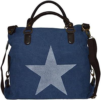 Hombro Bolsa de la compra bolsa de lona Estrella Stars Print Canvas piel sintética Bandolera Bolso Bag