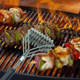 ZqiroLt - Utensile da cucina con 3 testine in filo di acciaio per la pulizia di barbecue, forno, griglia, raschietto per la pulizia del barbecue, colore nero