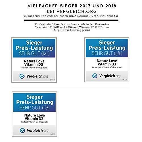 Der zweifache SIEGER bei vergleich.org 2017*: Vitamin D3 1000 I.E – 25 µg. Pflanzlich und flüssig in hochwertigem MCT Öl aus Kokos. Vitamin D3 (Cholecalciferol) mit 1350 Tropfen (50ml). Vitamin D mit sehr hoher Bioverfügbarkeit. Hochdosiert, vegan und hergestellt in Deutschland - 5