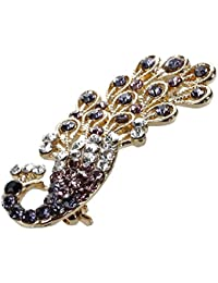 TOOGOO(R) Purpura Tono de plata Mini broche de forma de pavo real incrustado diamante de imitacion