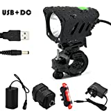 LED Bike Light Set, 1200 Lumen Super Bright USB and DC Rechargeable Bicycle