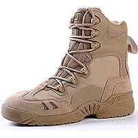 Wanlianer Bota de Hombre Botas Militares de la Selva de los Hombres Forro Transpirable Que Absorbe la Humedad con Zapatos al Aire Libre con Cremallera Invierno (Color : Beige, tamaño : 41 1/3 EU)