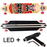 FunTomia® Longboard Skateboard Drop Through Cruiser Komplettboard mit Mach1® ABEC-11 High Speed Kugellager T-Tool (Modell Freerider - Farbe Route66 mit LED Rollen + T-Tool)