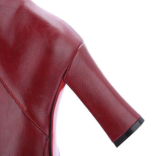 AllhqFashion Femme Couleur Unie Matière Souple à Talon Haut Zip Rond Bottes Rouge Vineux
