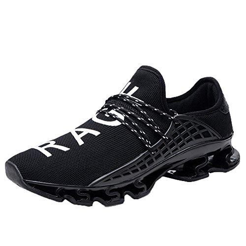 Alaso, scarpe da corsa da uomo, traspiranti, atletiche, sneakers corte, fitness, tennis Nero 42