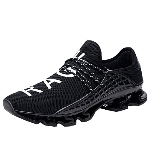 Scarpe da corsa Scarpe da ginnastica in maglia elastica Sport casuali Scarpe da corsa traspiranti da atletica da uomo (44 EU,Nero)