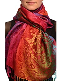 Large Ombre Paisley On Burgundy Pashmina Feel With Tassels - Red Pashmina Floral Scarf