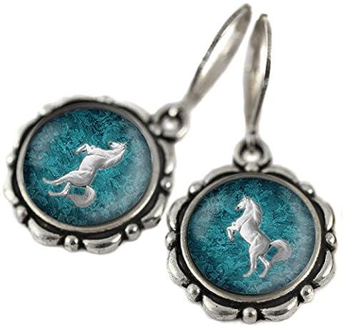 Tizi Jewellery, Vintage Green White Pferd Handgefertigte Silber Ohrringe mit Sterling Silber 925 Haken und versilbert Anhänger