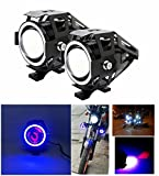 #4: LIONEX U7 CREE LED FullRing Projector Fog Light with High/Low Strobe Beam and Flashing Universal Headlight Driving Spot light, Night Lamp for Motorcycle Bike ATV Boat and Off-Road Vehicles (10W-35W, Blue, Pack of 2)