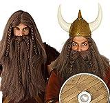 Perruque Viking Avec barbe brune tresses de cheveux longs Guerrier nordique foncé