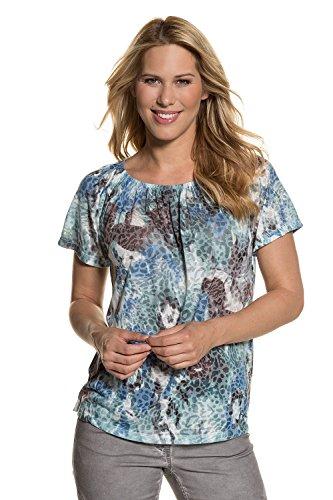 GINA LAURA Damen bis Größe 3XL | Blusen-Shirt | Animal-Print | Geraffter Ausschnitt, Kurzarm | Stretch-Jersey | pinie L 712996 74-L