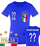 Comedy Shirts - WM 2014 - ITALIEN - VORNE und HINTEN - WUNSCH - Damen T-Shirt - Royalblau Gr. M