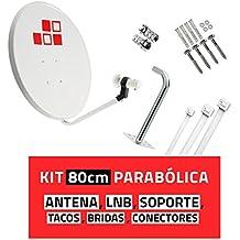 Diesl.com - Kit Parabólica 80cm + LNB + Soporte + Tacos a pared + Conectores + 10x Bridas. Con mejor calidad-precio del mercado. Válido para captar Astra 19,2ºE e Hispasat 30ºW