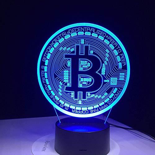 Kreative 3D Bitcoin Nacht Licht 7 Farben Andern Sich USB Adapter Touch Schalter Dekor Lampe Optische Täuschung Lampe LED Lampe Tisch Kind Geburtstag Weihnachten Geschenke