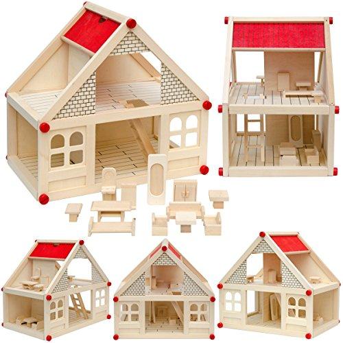 2-stöckiges Puppenhaus mit passenden Möbeln - Puppenstube aus Naturholz Holzpuppenhaus