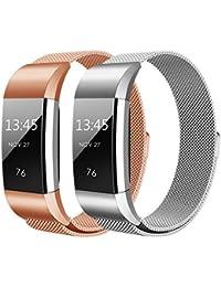 Fitbit Charge 2 Correa , Hanlesi Pulsera de Acero Inoxidable Reemplazo de la Muñeca con Cierre de Metal para Fitbit Charge 2 Fitness Wristband (Plata + oro rosa, 190mm/7.5inch)