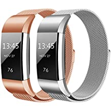 Hanlesi PU006 charge2L B2, Hanlesi Fitbit Bands, Milanese Loop Stainless Steel Bracelet Fitness Replacement Accessories Band with Unique Magnet Lock Wrist Straps for Fitbit (Sports & Outdoors)