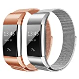 Hanlesi Fitbit Charge 2 Armband, Edelstahl Armbanduhren Watch Band Fitness für Fitbit Charge 2 (Groß, silber + roségold)