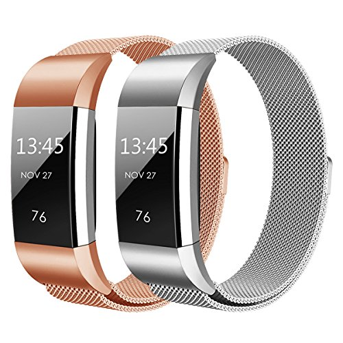 Großes Armband (Hanlesi Armband für Fitbit Charge 2 , Edelstahl Armbanduhren Watch Band Fitness für Fitbit Charge 2 (Silber + roségold, Small))