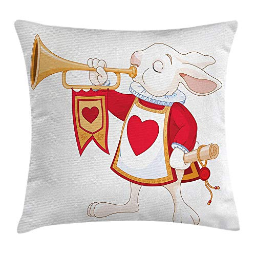 ZTLKFL Fairytale Throw Pillow Cushion Cover, for Kids Rabbit Wonderland Playing Royal Trumpet Heart Design Animal Card, Decorative Square Accent Pillow Case, 18 X 18 inches, White Red Yellow -