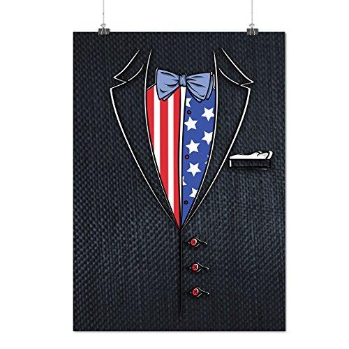 Usa Flagge Anzug Mode Mattes/Glänzende Plakat A4 (30cm x 21cm) | Wellcoda