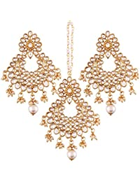 I Jewels Gold Plated Kundan & Pearl Earring Set With Maang Tikka For Women (TE2457W)
