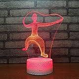 3D Lampara Led Luz Ilusión óptica Botón táctil color o 7 colores cambiar gradualmente Decoración del dormitorio del bebé regalo del día de San Valentín sueño asistido Tai Chi
