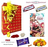 #2: Almoda Creations Set of 2 Latest Rakhi with Greeting Card, Roli, Tilak, Chocolate in Amazon Free Amazon Gift Wrapping with Hand Written Message on Card.