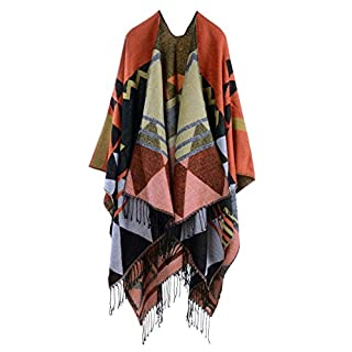 Anself Women Bohemia Long Cape Geometric Pattern Oversized Knitted Shawl Poncho