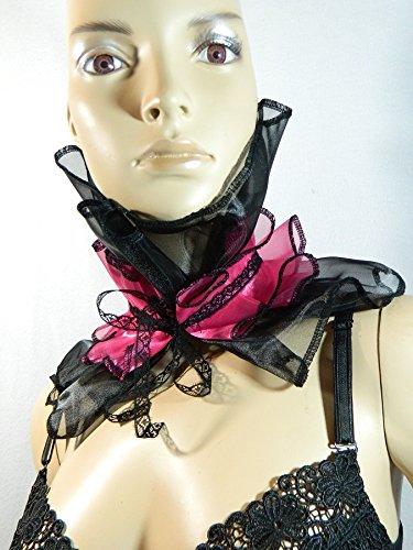 Kragen schwarz pink Halskrause Halskorsett Harlekin Clown Kostüm Karneval Burlesque