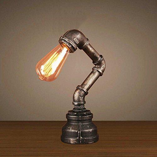 XLHLD Schreibtischlampe E27 Industrie Retro Wasserrohr Lampe, um die alten Eisen Edison Tischlampe Bar Bar Café dekoriert Tischlampe Schlafzimmer Nachttisch Wohnzimmer Restaurant(ohne Leuchtmittel)