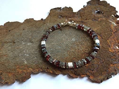 Labradorit und Granat Armband mit 925er Silberelementen