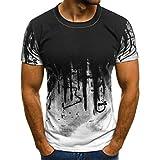 T-Shirt da uomo _ feiXIANG Moda Casuale Maniche Corta Girocollo T Shirt Stampa Digitale Camicetta Maglietta da Uomo Camicie da Uomini Tees Manica Corta Tops Maniche Corte Polo (Bianco E, 3XL)