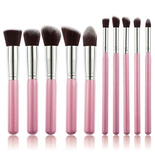 PIXNOR Brosse à Maquillage Cosmétique Ensemble Portable 10pcs (Rose)