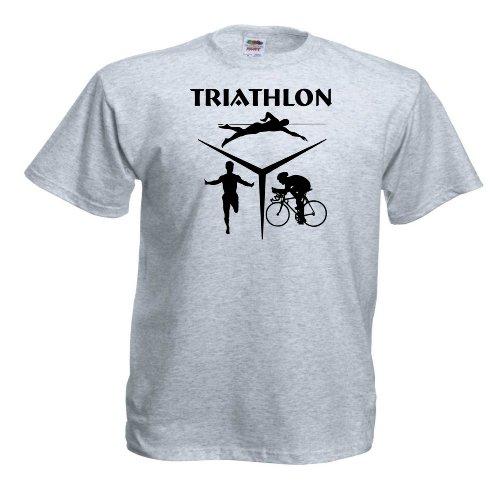 Triathlon T90 Unisex T-Shirt Textilfarbe: grau, Druckfarbe: (wie abgebildet)
