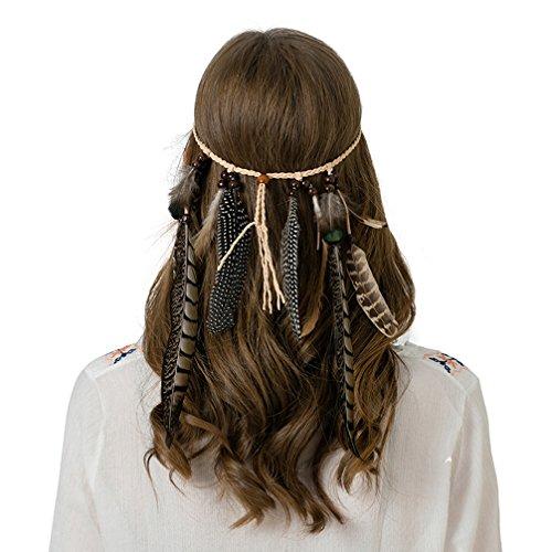 AWAYTR Damen Hippie Boho Indianer Stirnband Feder Stirnbänder für Abendkleider Halloween Karneval, Fasanenfedern, Einheitsgröße