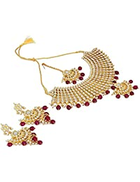 Aradhya Maroon Kundan Traditional Bridal Jewellery Sets For Wedding Girl
