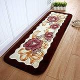 XQY Teppich-Carpet-15Mm Polyester-Faser-Wasser-Absorptions-Anti-Skid Teppich-Nicht Gesponnene Plastikunterseiten-Decke Küche-Badezimmer-Schlafzimmer-Nachttisch-Teppich 165 * 55Cm - Antibeleg-Form-L