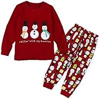 IOSHAPO Herbst und Winter Junge Mädchen Weihnachten drucken Pyjama Sets Kind Freizeitkleidung