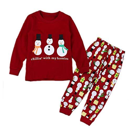 Fulision Jungs Mädchen Pyjama Baby Kinder Nachtwäsche Weihnachten Drucksatz Schlafanzug mit Langen Ärmeln Freizeitkleidung