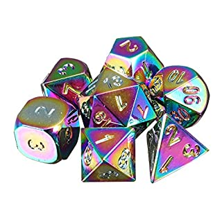 TuToy 7Pcs Rainbow Metal Polyhedral Dice Dnd Rpg Mtg Role Playing Game With Bag