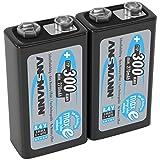 ANSMANN Akku 9V Block Typ 300mAh - Aufladbare Batterien 9V NiMH mit geringer Selbstentladung & hoher Kapazität - 9V Batterien ideal für Messgerät Multimeter Spielzeug Fernbedienung uvm. - 2 Stück