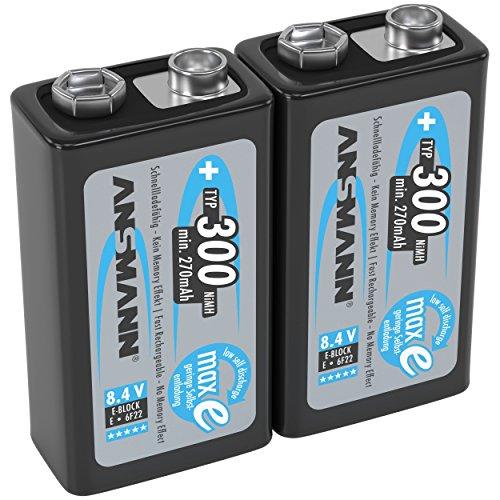 ANSMANN Akku 9V Block Typ 300mAh NiMH 2 Stück mit geringer Selbstentladung - Wiederaufladbare Batterien maxE mit hoher Kapazität - 9 Volt Batterie für Messgerät Multimeter Spielzeug Fernbedienung