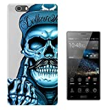 C0634 - Cool Funny Blue Skeleton Skull With Moustache