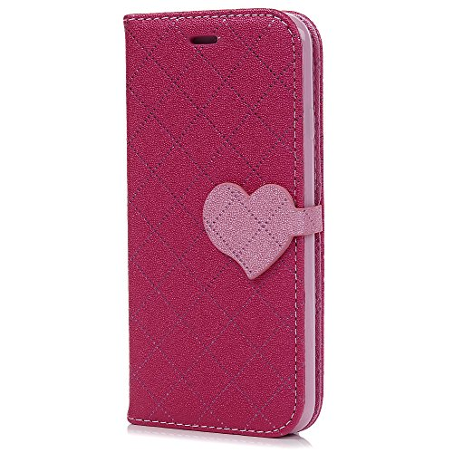 MAXFE.CO Lederhülle Leder Tasche Case Cover für iPhone 6/iPhone 6SHülle PU Herz Muster Schutzhülle Flip Cover Wallet im Bookstyle mit Standfunktion Karteneinschub und Magnetverschluß-Lila Rose Rot