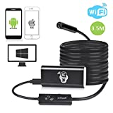 Wifi Inspection Camera, ieGeek Wireless Borescope 2.0 Megapixels 8mm HD 720P Video Endoscope Snake Camera Waterproof Tube Pipe Camera for Windows, iOS & Android Smartphone, iPhone, iPad, Samsung Galaxy, PC, Tablet - Black (3.5 Meter)