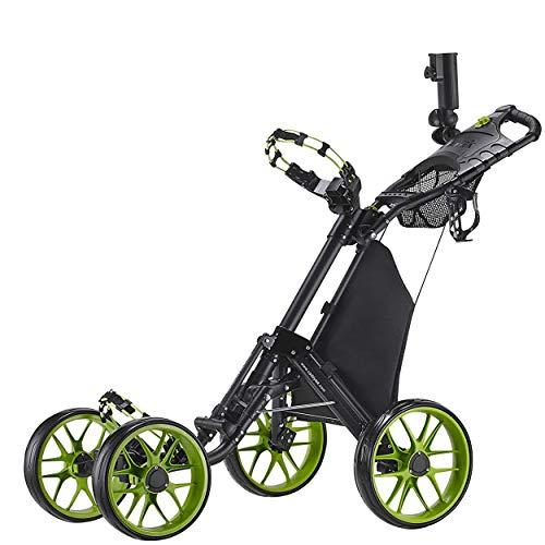 CaddyTek One-Click Folding 4-Rad Version 3 Golf Push Cart (Lime) -