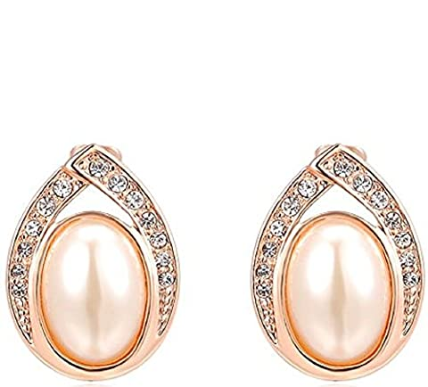 ROXI Crystals Paving Oval Pearl Alloy Stud Earrings (18ct Rose Gold)
