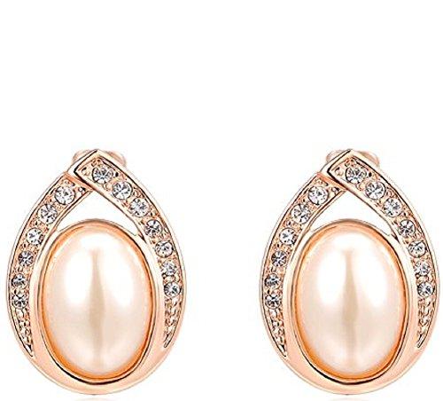ROXI Kristalle, die ovale Perlen-Legierungs-Bolzen-Ohrringe (Pearl Halskette Pink Hot)